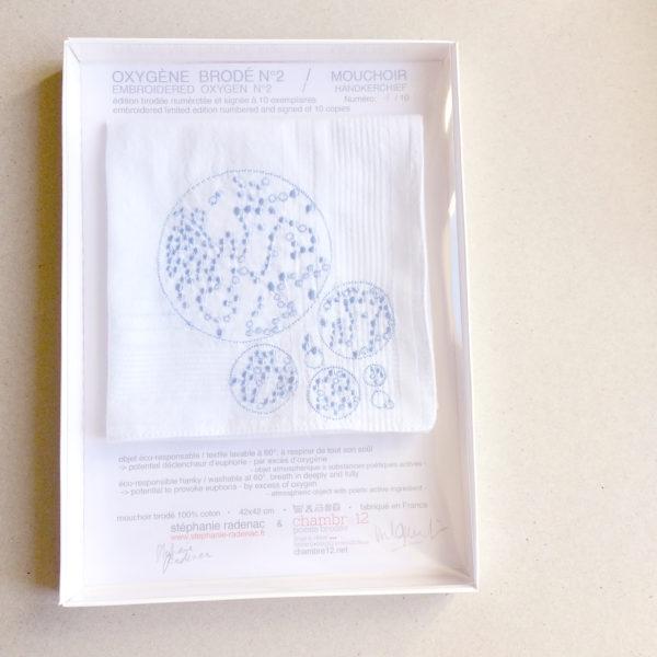 oxygene brodé mouchoir série limitée numérotée art conceptuel